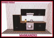 Küchenzeile MANKANERO 3 Küche 270cm Küchenblock HochglanzSchwarz/Sonoma o.Geräte