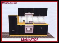 Küchenzeile MANKATOP 3 Küche 270cm Küchenblock HochglanzSchwarz / Buche o.Geräte