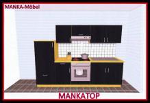 Küchenzeile MANKATOP 2 Küche 270cm Küchenblock HochglanzSchwarz / Buche m.Geräte