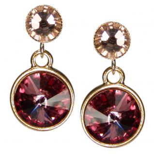 Kristall-Ohrringe mit SWAROVSKI ELEMENTS. Altrosa-Peach
