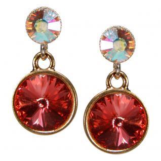 Kristall-Ohrringe mit SWAROVSKI ELEMENTS. Lachs-Opalschimmer