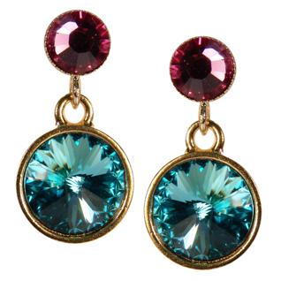 Kristall-Ohrringe mit SWAROVSKI ELEMENTS.Aquamarin-Rosa - Vorschau 1