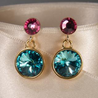Kristall-Ohrringe mit SWAROVSKI ELEMENTS.Aquamarin-Rosa - Vorschau 2
