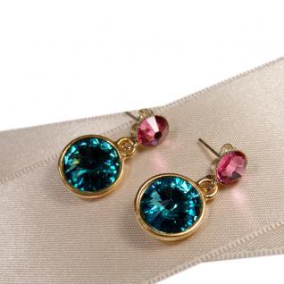 Kristall-Ohrringe mit SWAROVSKI ELEMENTS.Aquamarin-Rosa - Vorschau 3