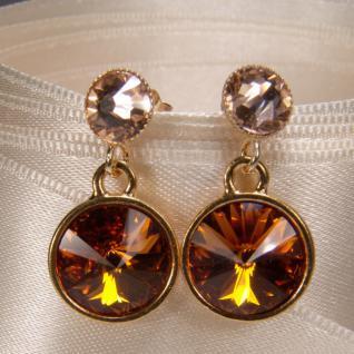 Kristall-Ohrringe mit SWAROVSKI ELEMENTS. Cognac-Peach - Vorschau 2