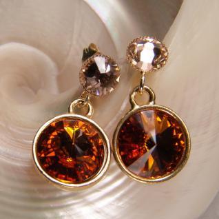 Kristall-Ohrringe mit SWAROVSKI ELEMENTS. Cognac-Peach - Vorschau 3