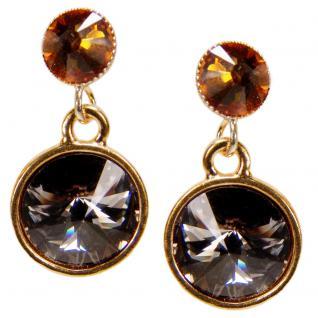Kristall-Ohrringe mit SWAROVSKI ELEMENTS. Grau-Cognac - Vorschau 1