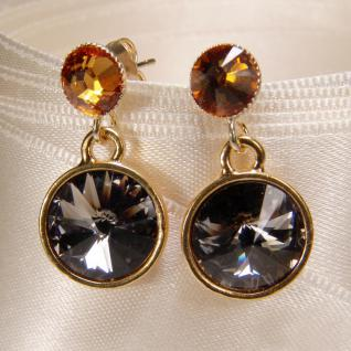 Kristall-Ohrringe mit SWAROVSKI ELEMENTS. Grau-Cognac - Vorschau 2