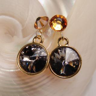 Kristall-Ohrringe mit SWAROVSKI ELEMENTS. Grau-Cognac - Vorschau 3