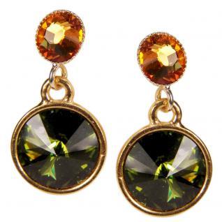 Kristall-Ohrringe mit SWAROVSKI ELEMENTS. Olivgrün-Cognac - Vorschau 1