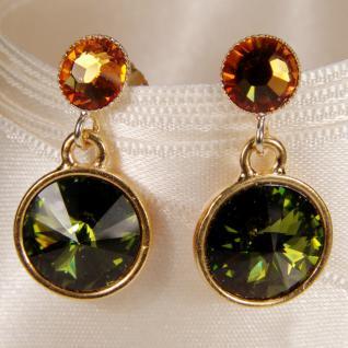 Kristall-Ohrringe mit SWAROVSKI ELEMENTS. Olivgrün-Cognac - Vorschau 2