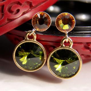 Kristall-Ohrringe mit SWAROVSKI ELEMENTS. Olivgrün-Cognac - Vorschau 3
