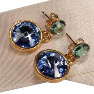 Kristall-Ohrringe mit SWAROVSKI ELEMENTS. Blau-Grün - Vorschau 3