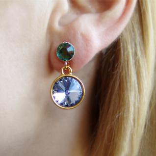 Silberne Kristall-Ohrringe mit SWAROVSKI ELEMENTS. Dunkelblau-Grün - Vorschau 4