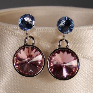 Silberne Kristall-Ohrringe mit SWAROVSKI ELEMENTS. Rosa-Blau - Vorschau 3
