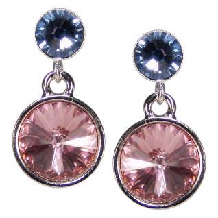 Silberne Kristall-Ohrringe mit SWAROVSKI ELEMENTS. Rosa-Blau - Vorschau 1