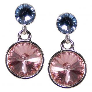Silberne Kristall-Ohrringe mit SWAROVSKI ELEMENTS. Rosa-Blau