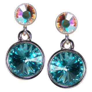 Silberne Kristall-Ohrringe mit SWAROVSKI ELEMENTS. Aquamarin-Opalschimmer - Vorschau 1