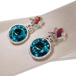 Silberne Kristall-Ohrringe mit SWAROVSKI ELEMENTS. Aquamarin-Opalschimmer - Vorschau 2