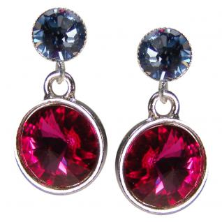 Silberne Kristall-Ohrringe mit SWAROVSKI ELEMENTS. Fuchsia-Blau