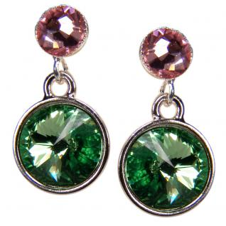 Silberne Kristall-Ohrringe mit SWAROVSKI ELEMENTS. Grün-Rosa