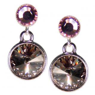 Silberne Kristall-Ohrringe mit SWAROVSKI ELEMENTS. Grau-Violett - Vorschau 1