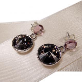 Silberne Kristall-Ohrringe mit SWAROVSKI ELEMENTS. Grau-Violett - Vorschau 2