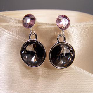 Silberne Kristall-Ohrringe mit SWAROVSKI ELEMENTS. Grau-Violett - Vorschau 3