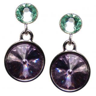 Silberne Kristall-Ohrringe mit SWAROVSKI ELEMENTS. Violett-Grün