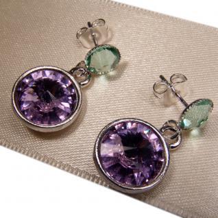 Silberne Kristall-Ohrringe mit SWAROVSKI ELEMENTS. Violett-Grün - Vorschau 3