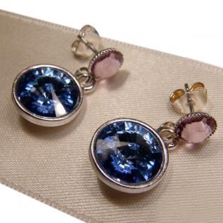 Silberne Kristall-Ohrringe mit SWAROVSKI ELEMENTS. Blau-Violett - Vorschau 2