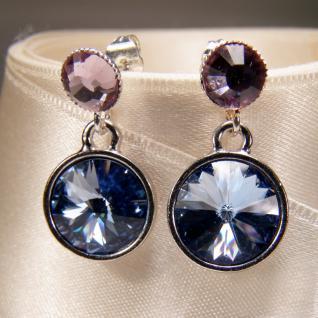 Silberne Kristall-Ohrringe mit SWAROVSKI ELEMENTS. Blau-Violett - Vorschau 3
