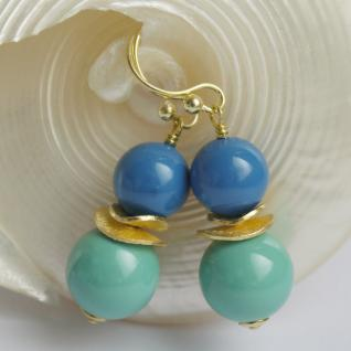 Colour Blocking Ohrring mit SWAROVSKI Crystal Pearls und Silber verg. Türkis-Blau 3