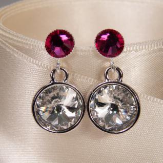 Silberne Kristall-Ohrringe mit SWAROVSKI ELEMENTS. Kristall-Blau - Vorschau 3