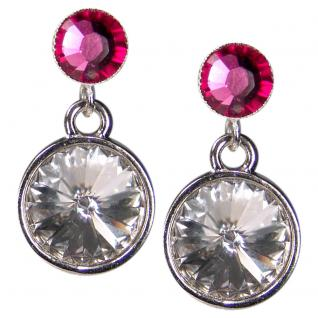 Silberne Kristall-Ohrringe mit SWAROVSKI ELEMENTS. Kristall-Blau - Vorschau 1