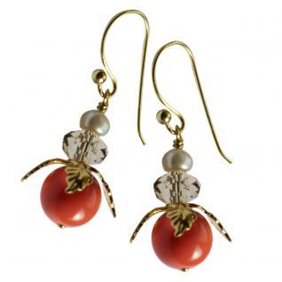 Ohrring mit SWAROVSKI Crystal Pearls Blüte korallenrot