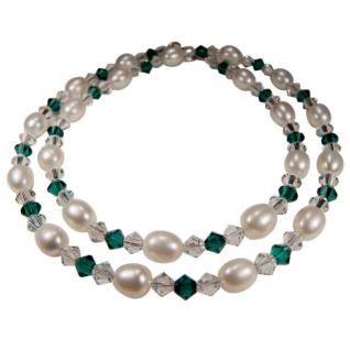 Perlenkette mit SWAROVSKI Elements. Smaragdgrün