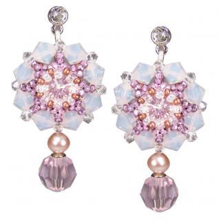 Kristall-Ohrringe mit SWAROVSKI ELEMENTS. Hellrosa - Vorschau 1
