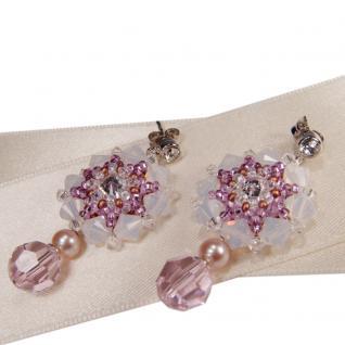 Kristall-Ohrringe mit SWAROVSKI ELEMENTS. Hellrosa - Vorschau 2
