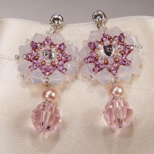 Kristall-Ohrringe mit SWAROVSKI ELEMENTS. Hellrosa - Vorschau 3