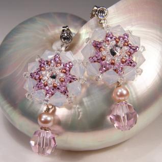 Kristall-Ohrringe mit SWAROVSKI ELEMENTS. Hellrosa - Vorschau 4
