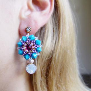 Kristall-Ohrringe mit SWAROVSKI ELEMENTS. Aquamarinblau - Vorschau 5