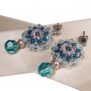 Kristall-Ohrringe mit SWAROVSKI ELEMENTS. Aquamarinblau - Vorschau 2
