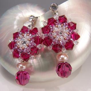 Kristall-Ohrringe mit SWAROVSKI ELEMENTS. Rubinrot - Vorschau 4