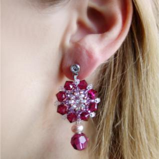 Kristall-Ohrringe mit SWAROVSKI ELEMENTS. Rubinrot - Vorschau 5