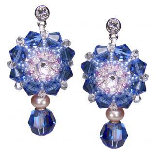 Kristall-Ohrringe mit SWAROVSKI ELEMENTS. Saphirblau - Vorschau 1
