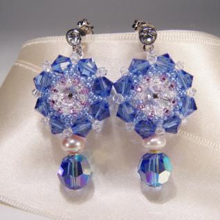 Kristall-Ohrringe mit SWAROVSKI ELEMENTS. Saphirblau - Vorschau 3