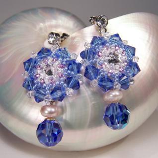 Kristall-Ohrringe mit SWAROVSKI ELEMENTS. Saphirblau - Vorschau 4