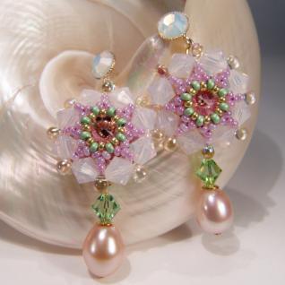 Kristall-Ohrhänger mit SWAROVSKI ELEMENTS und Süßwasserperle - Vorschau 3