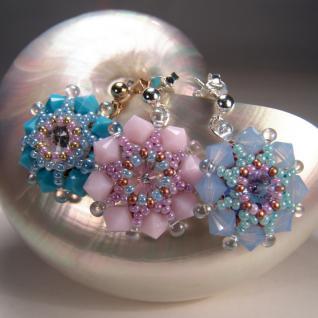 Kristall-Ohrstecker Perlenblume mit SWAROVSKI ELEMENTS. Rosa - Vorschau 4